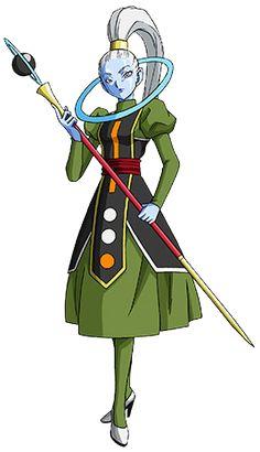 """Vados (ヴァドス Vadosu) es la hermana mayor de Whis, asistente y maestra de Champa, el Dios de la Destrucción del Universo 6. Hace su debut en Dragon Ball Super. El nombre """"Vados"""" viene de un juego de palabras hecha con el nombre de la bebida alcohólica """"Calvados""""."""
