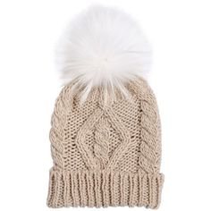 YVES SALOMON ENFANT Cable Knit & Fur Pompom Hat (295 BRL) ❤ liked on Polyvore featuring pink