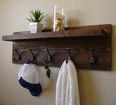 Rustic Modern Dark Walnut 5 Hanger Hook Coat Rack with Floating Shelf