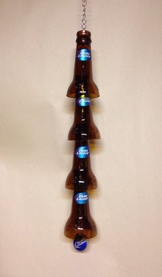 Bud Light Beer Bottle Wind Chime. Recycled Glass Bottles. Green Glass. Outdoor Decor. on Etsy, $25.00