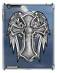 stone, cross, Christ, Christianity, wings, iPad case