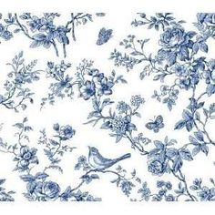 Amazon.com: Blue and White Bird Toile Wallpaper: Home Improvement ...