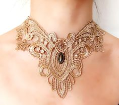 lace necklace - beige vintage large - victorian choker - pearl copper art deco - Fabric jewelry - gift for her on Etsy, $13.50