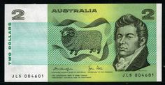 Australian banknotes currency two dollars