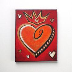 Heart painting LOVE RULES No.2 8x10 Acrylic Canvas by nJoyArt, $40.00  #art #decor #romantic #valentine #abstract #painting
