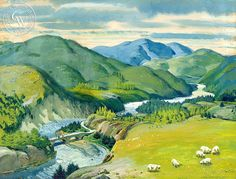 Spey River Valley, 1951, art by Hardie Gramatky – California Watercolor