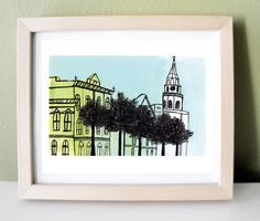 Charleston City Scape Print Green Blue and White by kristensolecki, $15.00