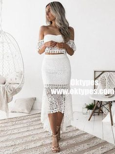 2 pieces white lace homecoming dresses, cute sweetehart high low prom party dress, bodycon dress for women Lace Homecoming Dresses, Graduation Dresses, Wedding Dresses, Mermaid Skirt, Lace Mermaid, Mermaid Style, Lace Crop Tops, Two Piece Dress, Party Dresses