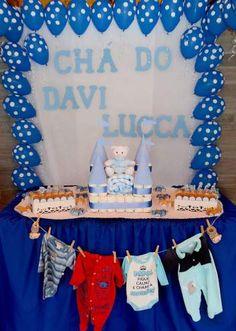 Chá de fraldas Davi Lucca - decoração para chá de fraldas / chá de bebê menino Baby Shower, Baby Boy, Birthday Cake, Diy, Nara, Biscuit, Baby Shower Photos, Baby Shower Diapers, Bachelorette Party Food
