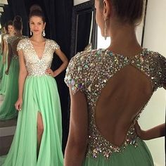 Deep v-neck mint prom dresses,front split evening dresses,backless prom dresses