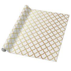 Elegant Modern Gold Foil Moroccan Trellis White Wrapping Paper