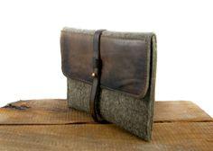 Wool Felt iPad Case with Leather Flap / Tablet Case / by FelTech Ipad Bag, Natural Leather, Leather Working, Macbook, Messenger Bag, Felt, Craft Ideas, Trending Outfits, Random