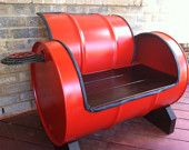 I want these by the fire pit =) Manly yes! For garage or workshop seating. recycled repurposed barrel drum bench