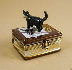 NEW FRENCH LIMOGES BOX BLACK TUXEDO CAT ON HARRY'S SPELLS BOOK W HAT MAGIC WAND | eBay