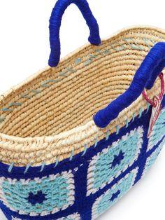 Kilometre Paris Undercover crochet and raffia basket bag Basket Bag, Undercover, Crochet Purses, Crochet Squares, Friends In Love, Lana, Paris, Straw Bag, Shopping Bag