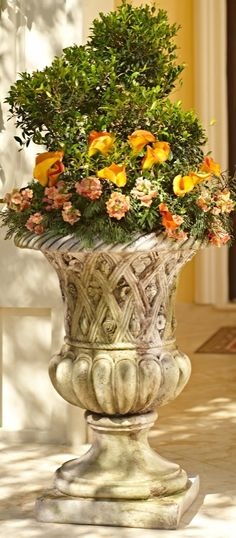 Give your front door a regal feeling with our Lucio Outdoor Planter. This dramatic piece evokes the feeling of a lush Versailles garden without the heavy weight of a traditional cast-stone planter.