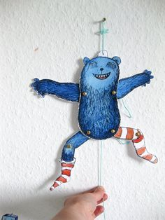 Monster Jumping Jack paper doll cut out sheet DIN A4 by @Tessa Rath €4.50 handmade in Harpstedt, Germany! #puppet