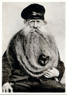Love the cat in the beard, too cute.