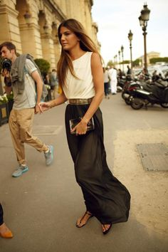 Must do this next summer: long dark flowy high waist skirt with simple contrasting belt with a contrasting basic tank