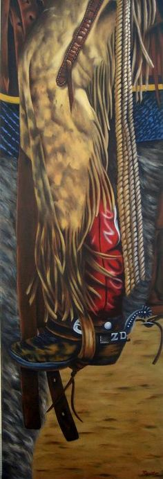 """All Leathered Up"" - 36"" x 12"" - Oil - $1145. Self taught - I don't trace or do prints"
