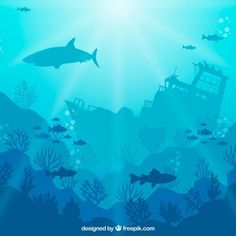 Underwater background with different marine species Free Vector Beach Illustration, Graphic Illustration, Aquarium Drawing, Shark Silhouette, Underwater Background, Underwater Plants, Aquarium Backgrounds, Game Background, Vector Background