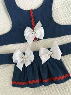 Denim Dog Ruffled Harness with skirt or exchange for diaper for Girl Dog Custom Made Belly Bands For Dogs, Big Dog Breeds, Barbie Doll Set, Yorkshire Terrier Dog, Dog Clothes Patterns, Pet Clothes, Clothes Storage, Girl And Dog, Animal Fashion