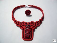 Soutache necklace and ring