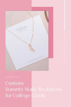 Spoil your Alpha Phi Grad with a custom sorority state necklace! Alpha Phi Grad Gift | APhi Sorority State Necklace | College Graduation Gift Idea | Grad Gift for Her | Grad Gift for Girlfriend | Grad Gift for Daughter | Grad Gifts for Best Friends | Personalized State Necklace | Sorority Graduation Necklace #HappyGraduation #SororityGrad Kappa Alpha Theta, Pi Beta Phi, Alpha Chi Omega, Kappa Delta, Sigma Tau, Phi Mu, College Grad Gifts, College Sorority, Sorority Graduation