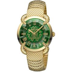 Roberto Cavalli Women's Rc-37 Watch ($450) ❤ liked on Polyvore featuring jewelry, watches, jewelry & watches, nocolor, gold-tone watches, stainless steel jewellery, green dial watches, leather-strap watches and stainless steel jewelry