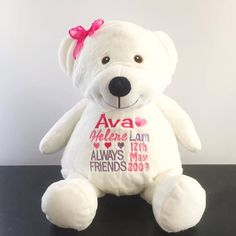 Bridalbling birthday gift birth gift idea bridal bling australia personalised birthday gift personalised teddy bear embroidered plush embroidered negle Images