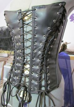 Black Vegan Leather Corset with Multiple by PoeLittleGothGirl, $50.00