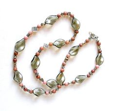 Vintage Beaded Necklace Pink & Grey Rhodocrosite Sterling Silver Foil Glass Beads by retrogroovie on Etsy