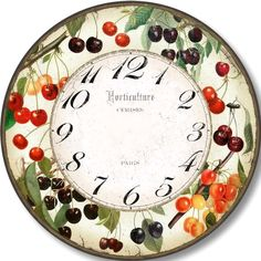 Enough cherries to make a pie surround the time dial on this clock. The ripe cherries form polka dots of color perfect for any kitchen. Clock Face Printable, Eames, Clock Art, Clock Movements, Stop Light, Resin Art, Decoration, Crafts To Make, Decorative Items