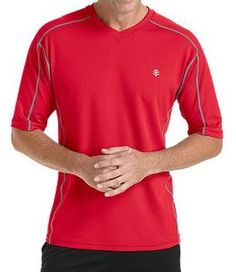 Coolibar red short sleeve UV Protective Men's Sport T-shirts UPF 50+ soft, light and fast drying