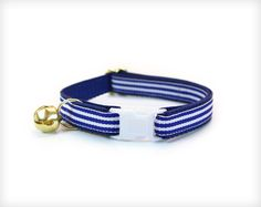 "Cat Collar - ""French Navy"" - Nautical Blue & White Preppy Stripes from Made By Cleo.   #catcollar #navy #nautical #sailing #preppy #stripe #horizontal #blue #kitten #breakaway # cat #kitty #kitten #pet #collar"