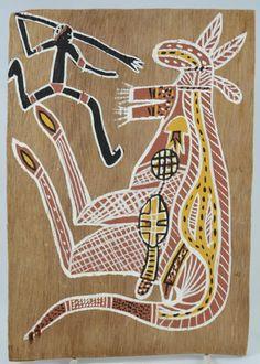 Vintage Bark Painting in Aboriginal X-ray Style Depicting Kangaroo and a Hunter, Art, Australian