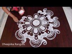 rangoli art peacock designs with colors || simple kolam designs with dots || sankranthi muggulu - YouTube