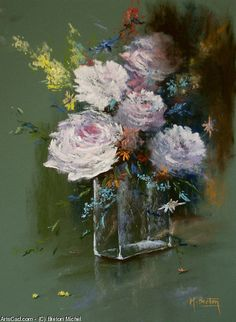Breton Michel - Bouquet of Peonies Michel Bouquet, Oil Paintings, Les Oeuvres, Insects, Paradise, Roses, Watercolor, Bird, Drawings