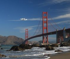 Riding piggyback on a NASA 747 the Space Shuttle Endeavour flies over the Golden Gate Bridge in San Francisco on a tour of California heading into retirement at the California Science Center in Los Angeles. #sanfrancisco #sf