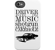 Supernatural - Driver picks the music... iPhone Case by glassCurtain