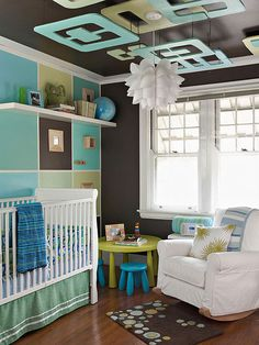 I like doing something fun on the ceiling, since that is what the baby will look at the most. baby nursery room - Nursery design ideas via mylusciouslife. Baby Bedroom, Baby Boy Rooms, Baby Boy Nurseries, Nursery Room, Kids Bedroom, Nursery Ideas, Nursery Pictures, Nursery Decor, Room Ideas