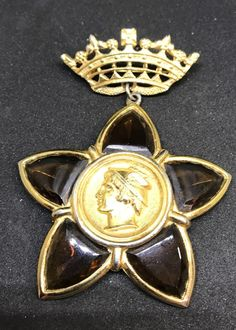 VINTAGE GOLDPLATED CROWN AND Amber Color POURED GLASS STAR MYTHICAL GOD BROOCH  | eBay