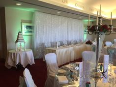 Fairy light curtains and chair covers available #weddinghire #weddingdisco #weddingDJ #chaircovers