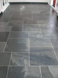 Honed Welsh Slate Floor Tiles - Installing ceramic tile flooring may be achieved by anyone with great sight (or glasses), wh Slate Flooring, Tile Installation, Floor Design, Travertine, Rustic Chic, New Kitchen, Tiles, Inside Design, Tile Ideas