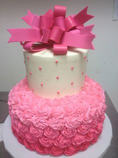 Pink Ombré baby shower cake with fondant bow.