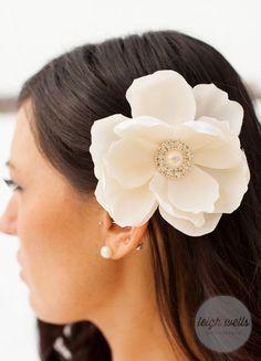Cream off white ivory Magnolia flower hair clip with rhinestone pearl embellishment Bridal clip bride wedding accessories on Etsy, $20.00