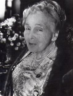 a close up of Princess Alice in her art deco tiara, now firmly high on her head, in 1960s