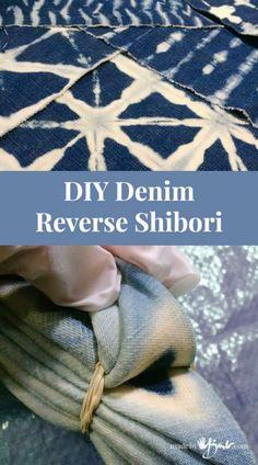 DIY Denim Reverse Shibori - Made By Barb - simple bleach dyeing pattern