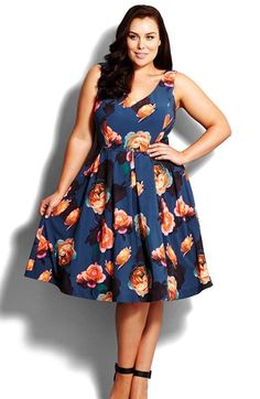 City Chic 'Silver Floral' Fit & Flare Dress (Plus Size) available at #Nordstrom