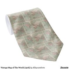Vintage Map of The World (1918) Neck Tie